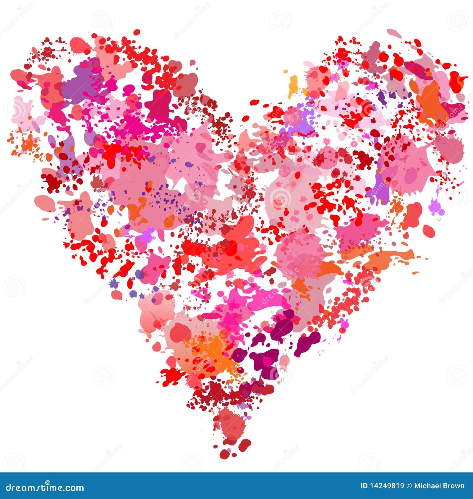 Download Heart Shape Paint Splatter Painting Abstract Stock Vector - Illustration of grunge, splat: 14249819