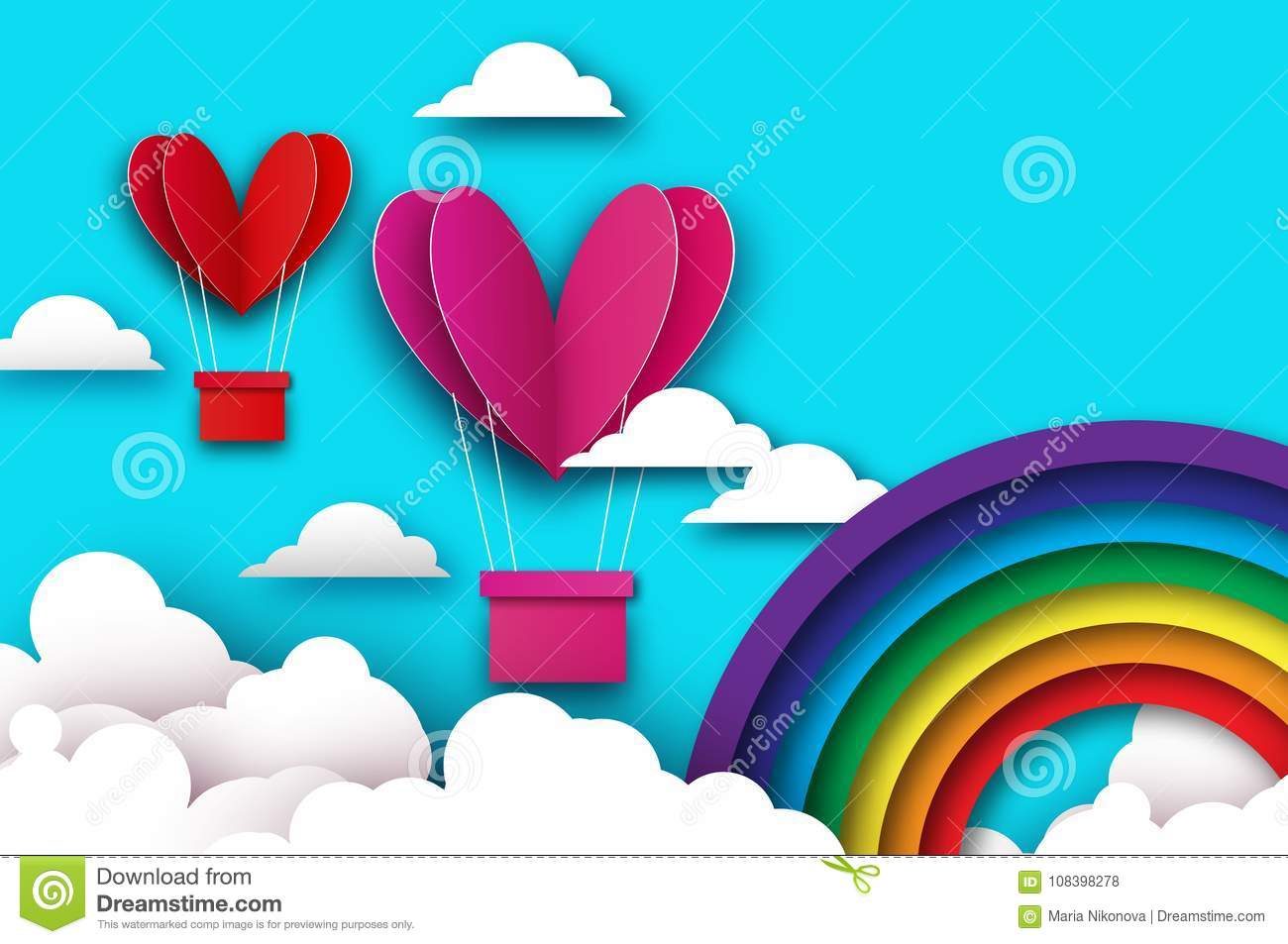 Heart Shape Pink Hot Air Balloon Flying. Love In Paper Cut Style ...