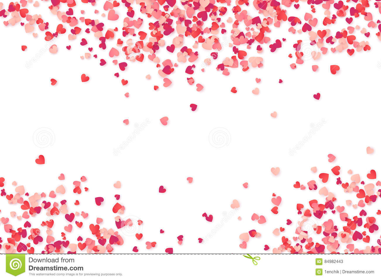 Heart Shape Pink And Red Confetti Vector Valentines Day Background