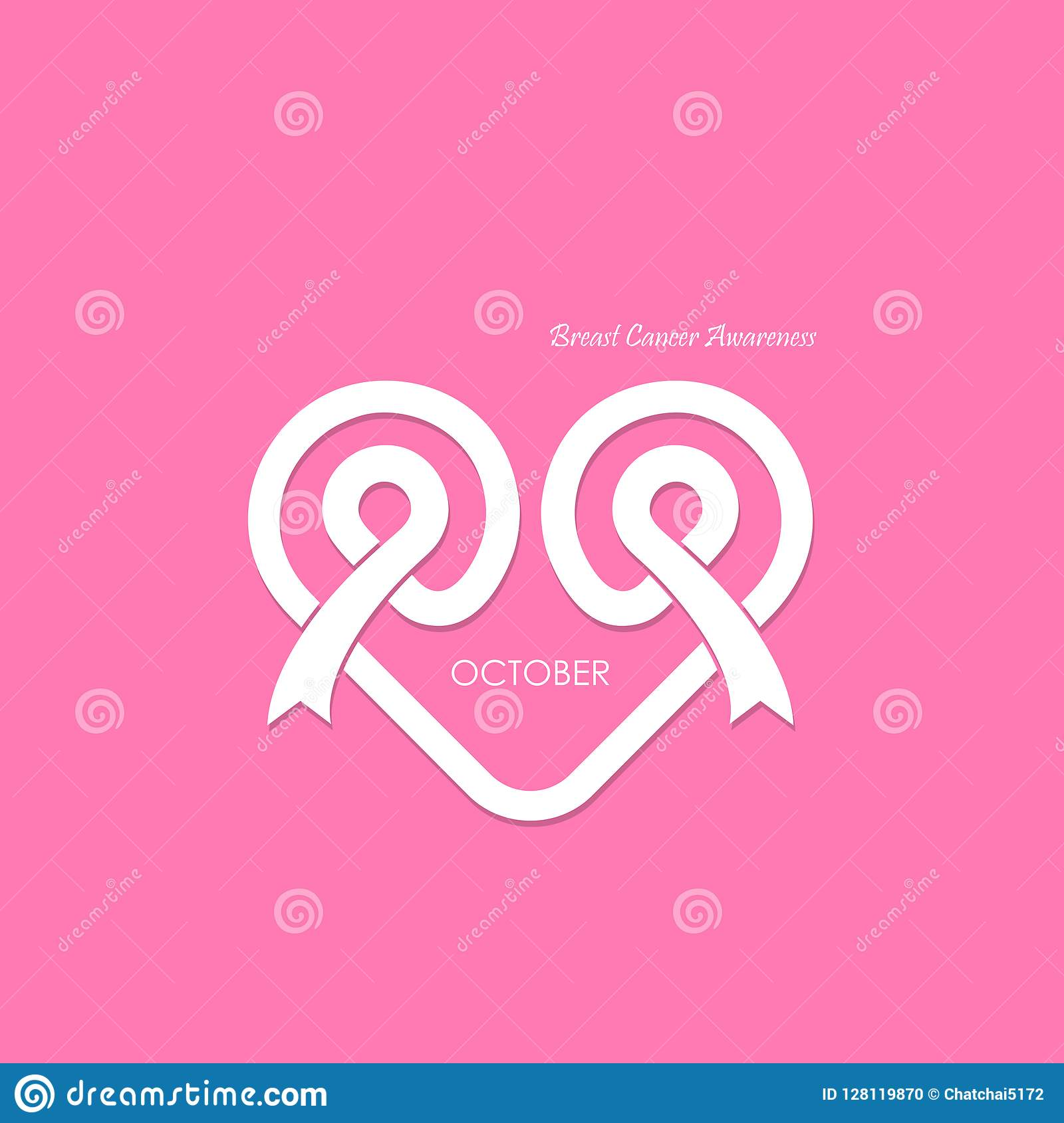 caa1709e475 Heart Shape & Pink Ribbon Icon.Breast Cancer October Awareness M ...