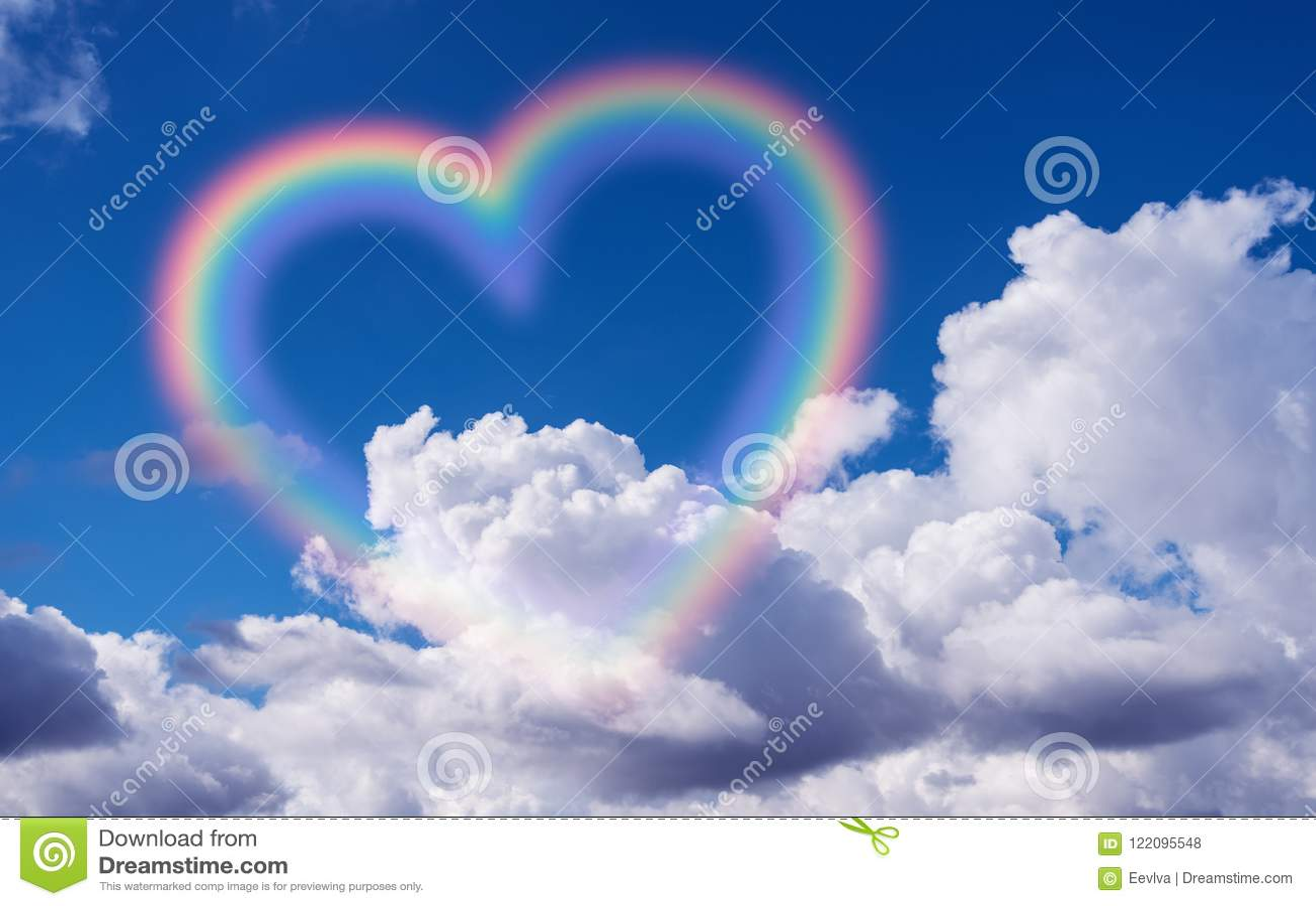 Heart shape rainbow.