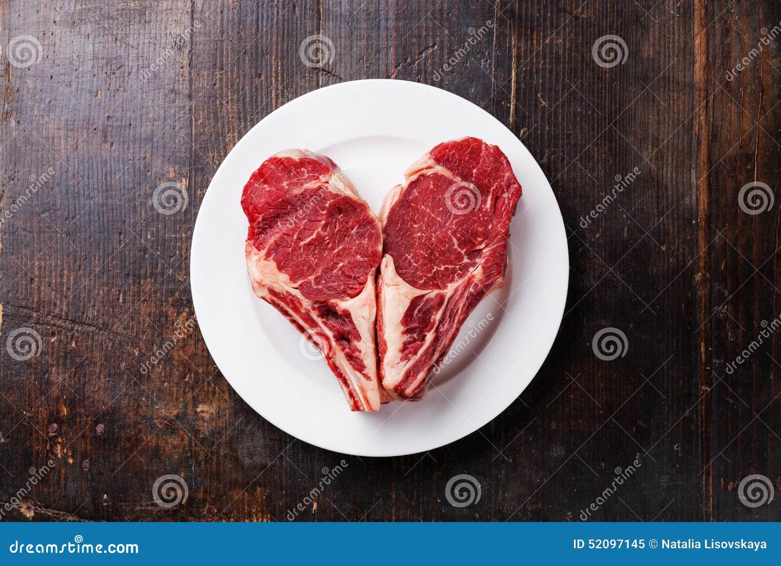 Heart shape Raw meat steak on plate