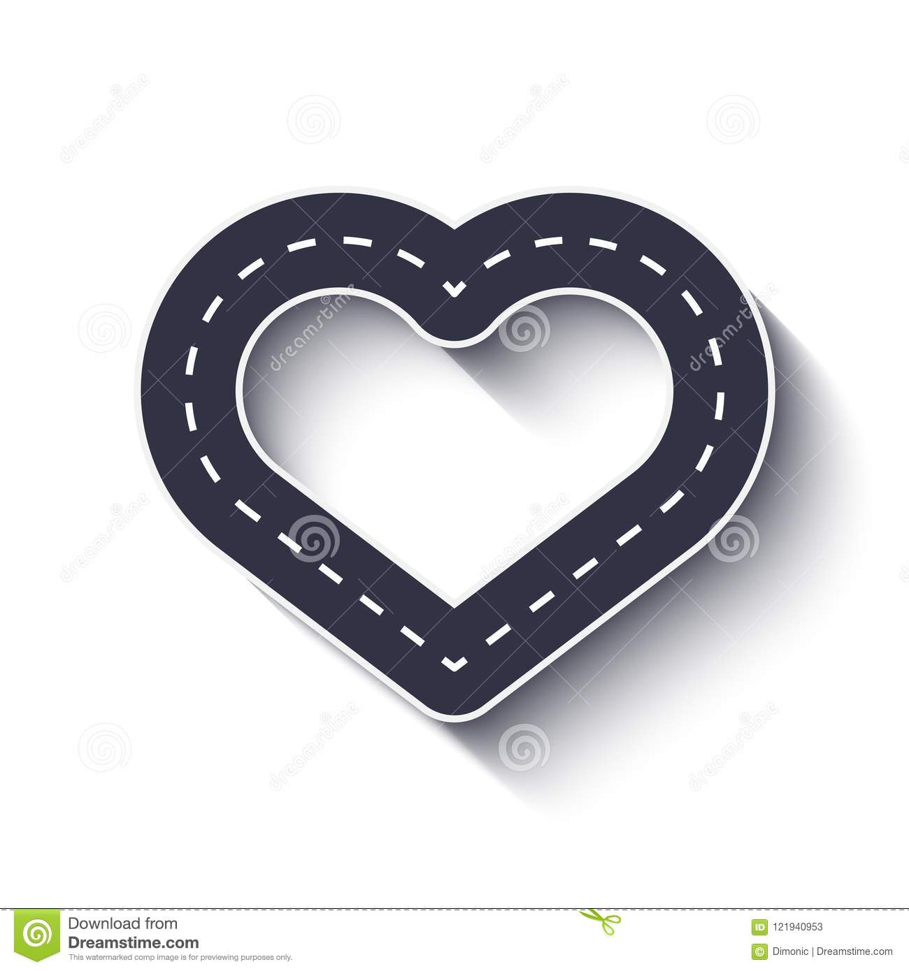 heart shape road icon infographic template eps 10 stock vector