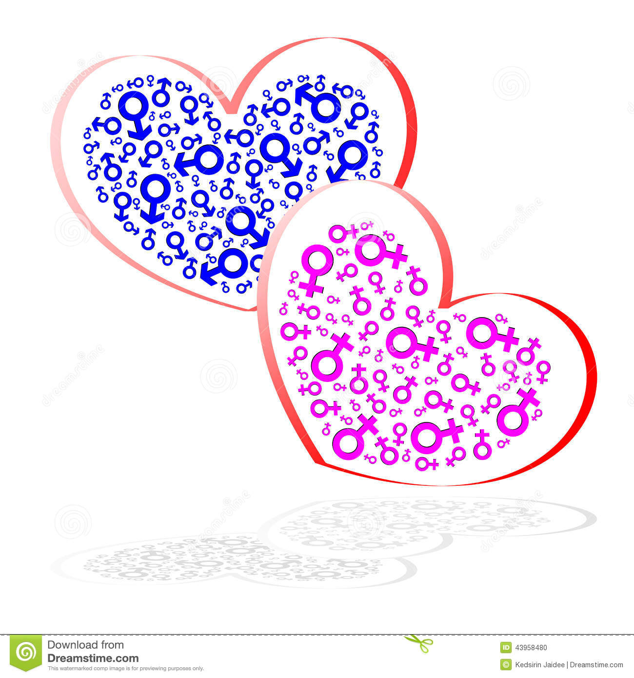 Heart Shape And Sex Symbol Isolated Stock Vector Illustration Of