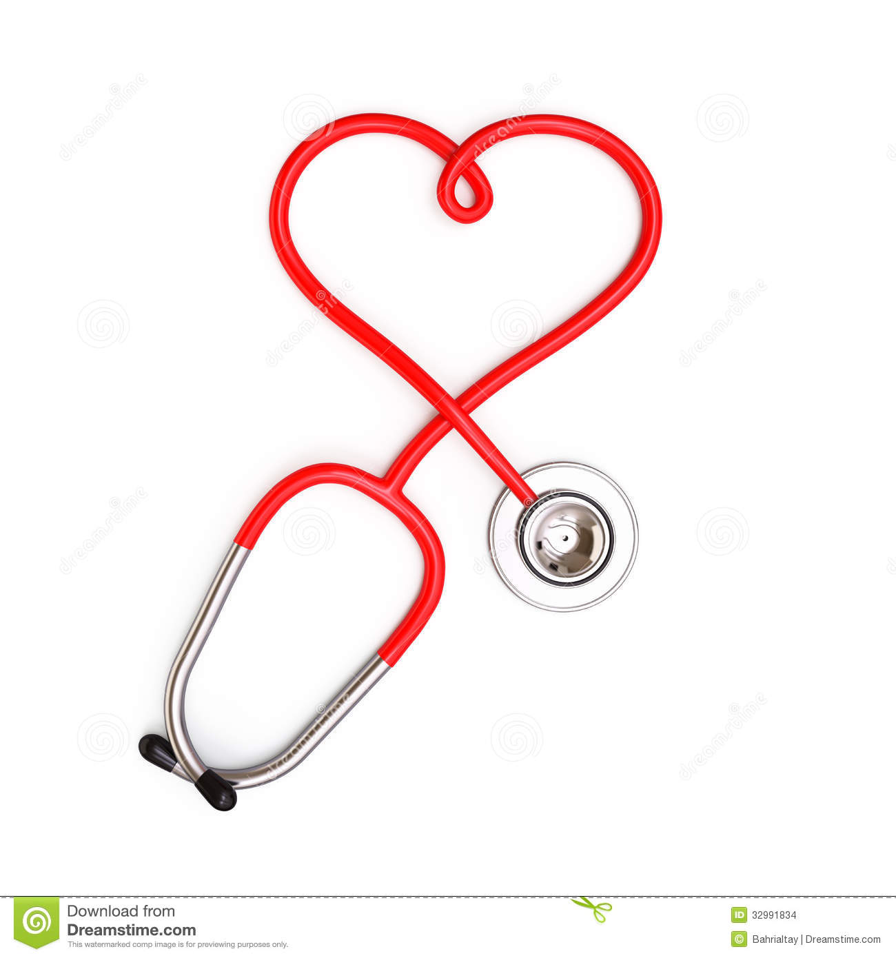 Stock Images: Heart shape from stethoscope. Image: 32991834