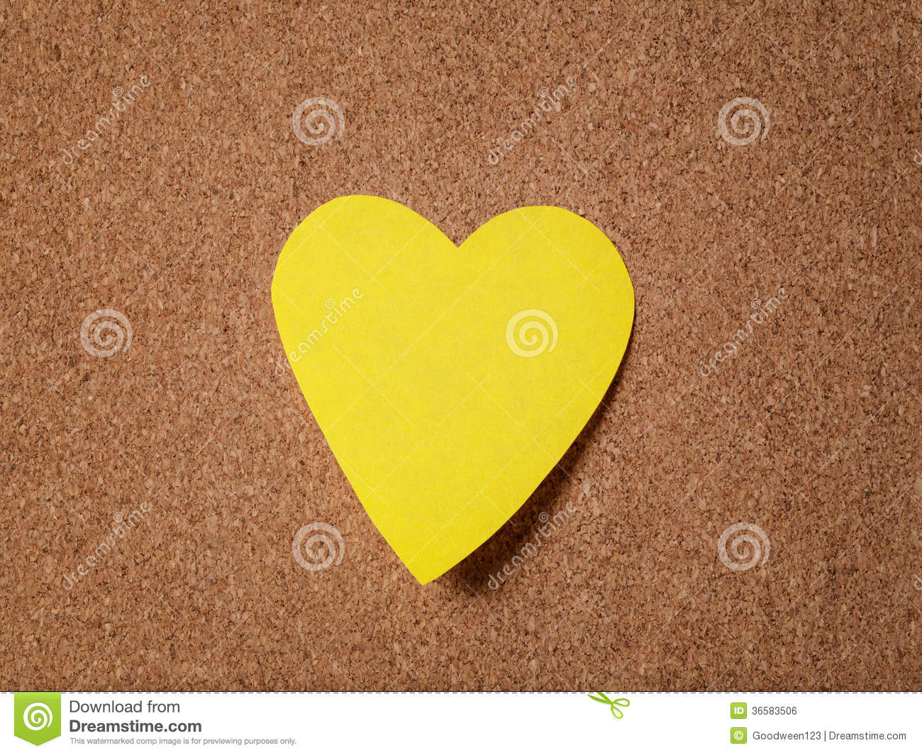 Heart shape sticky note on cork board royalty free stock for Heart shaped bulletin board