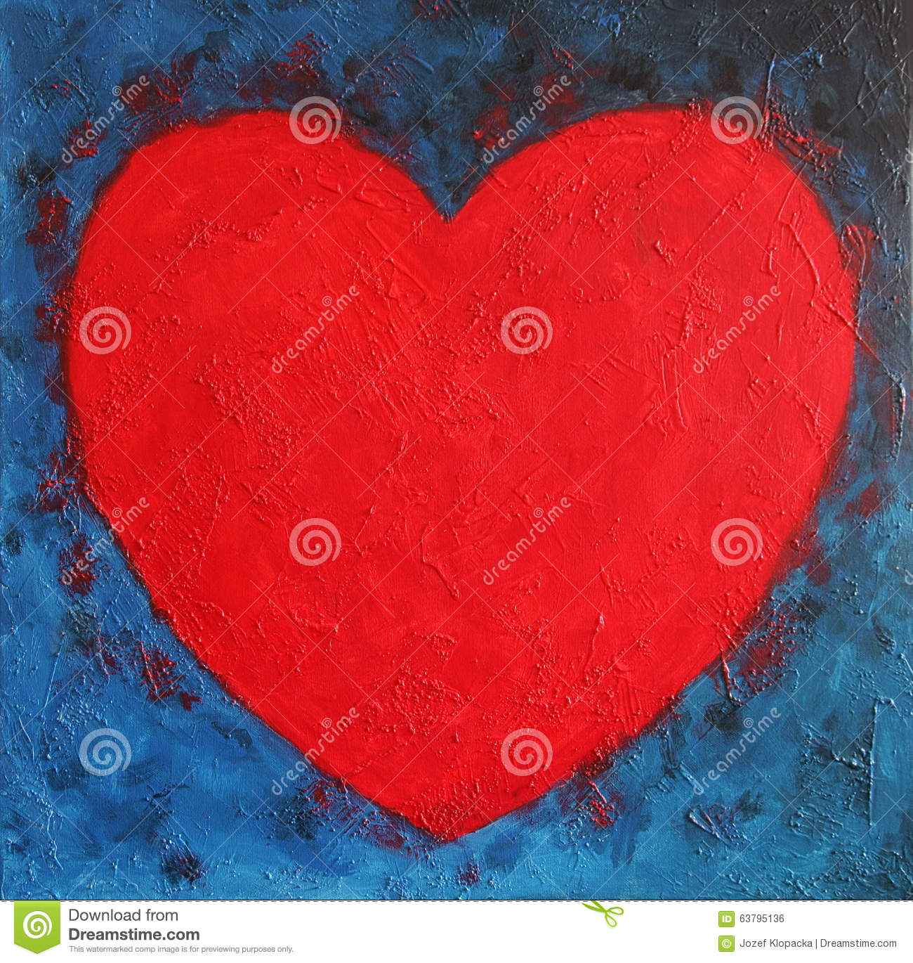 Heart Shape Symbol Bright Red On Blue Abstract Stock Illustration