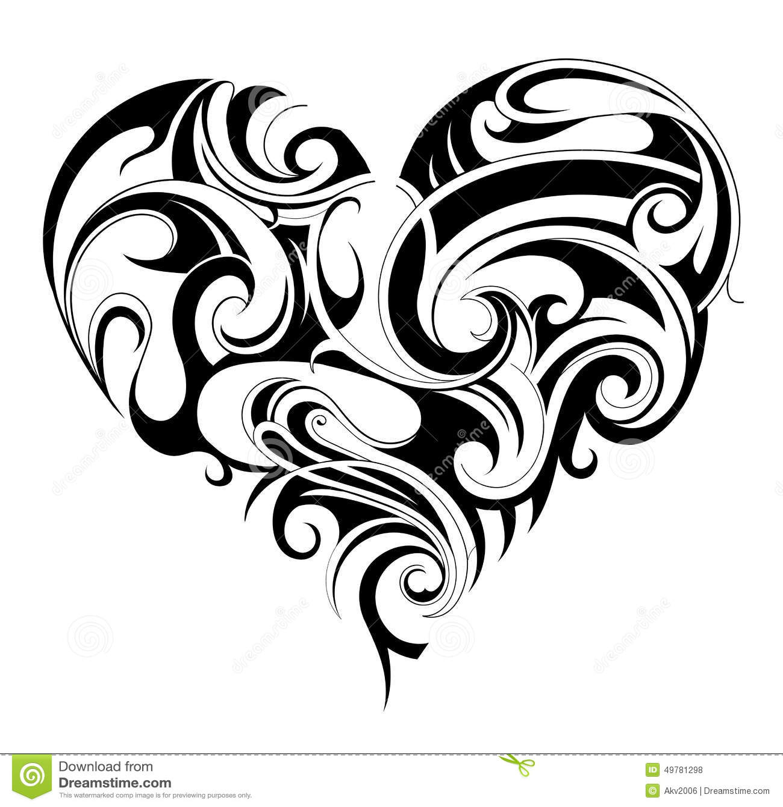 Черно белые тату на сердце