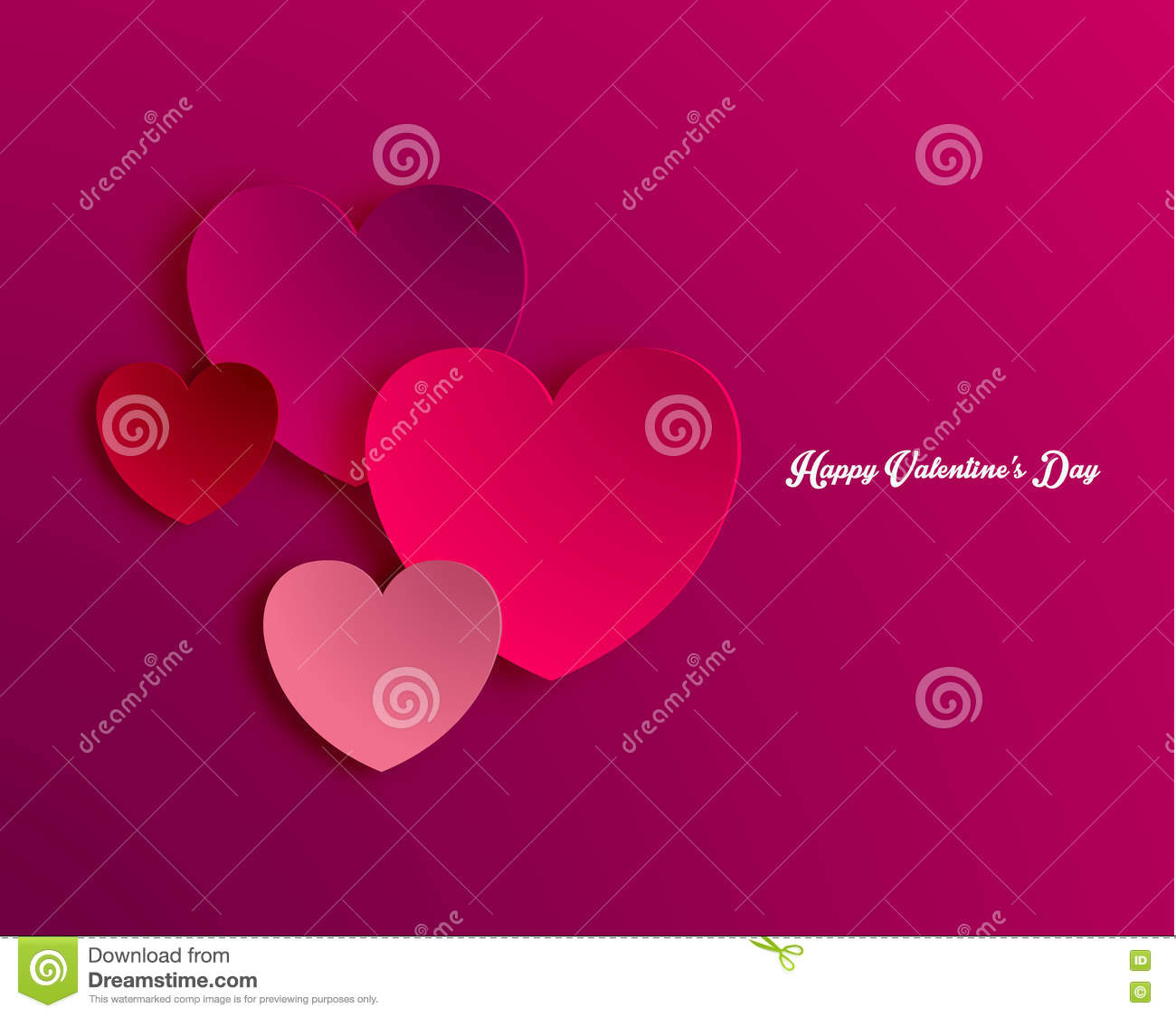 Heart Shape Valentine's Day Paper Cut-out Vector Stock