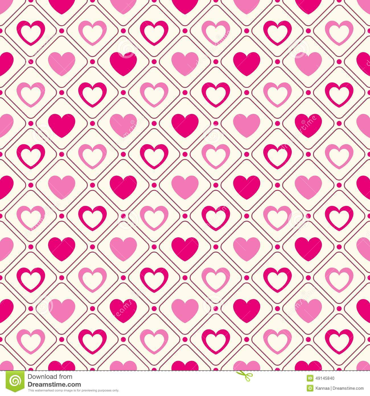 Heart Shape Vector Seamless Pattern Pink And Stock Vector