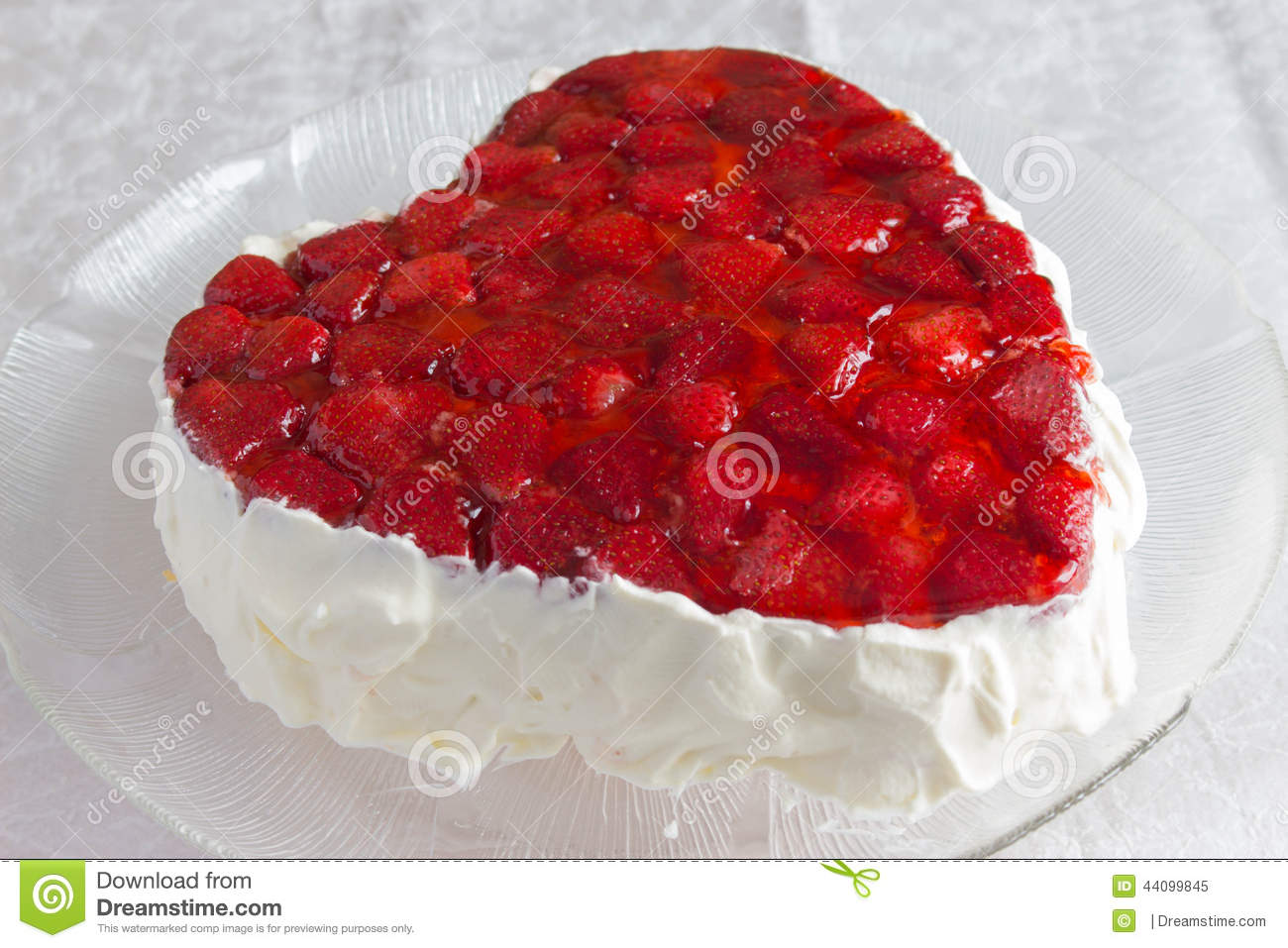 Heart Shaped Bisccuit Cake With Strawberry Jelly On White ...