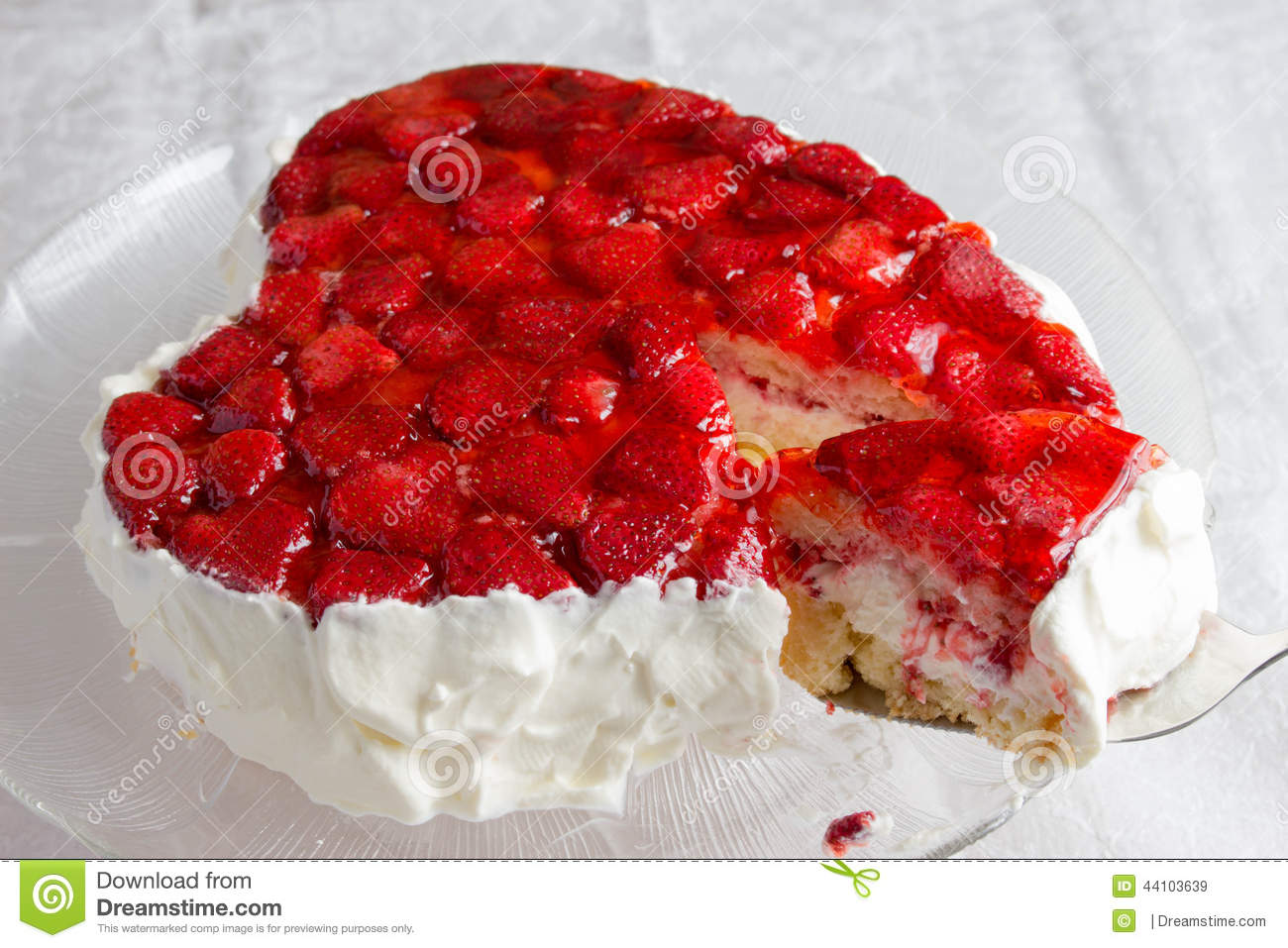 Heart Shaped Cake Stock Photos : Heart Shaped Bisccuit Cake With Strawberry Jelly On White ...