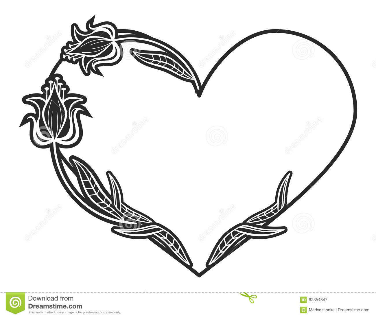 Heart Shaped Black And White Frame With Floral Silhouettes Stock