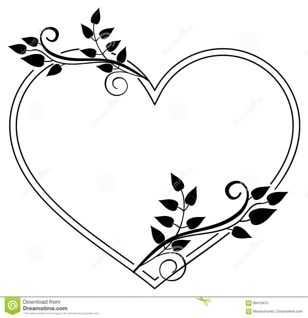 Black Flower Heart Shape Illustration Tattoo On White: Heart-shaped Black And White Frame With Floral Silhouettes