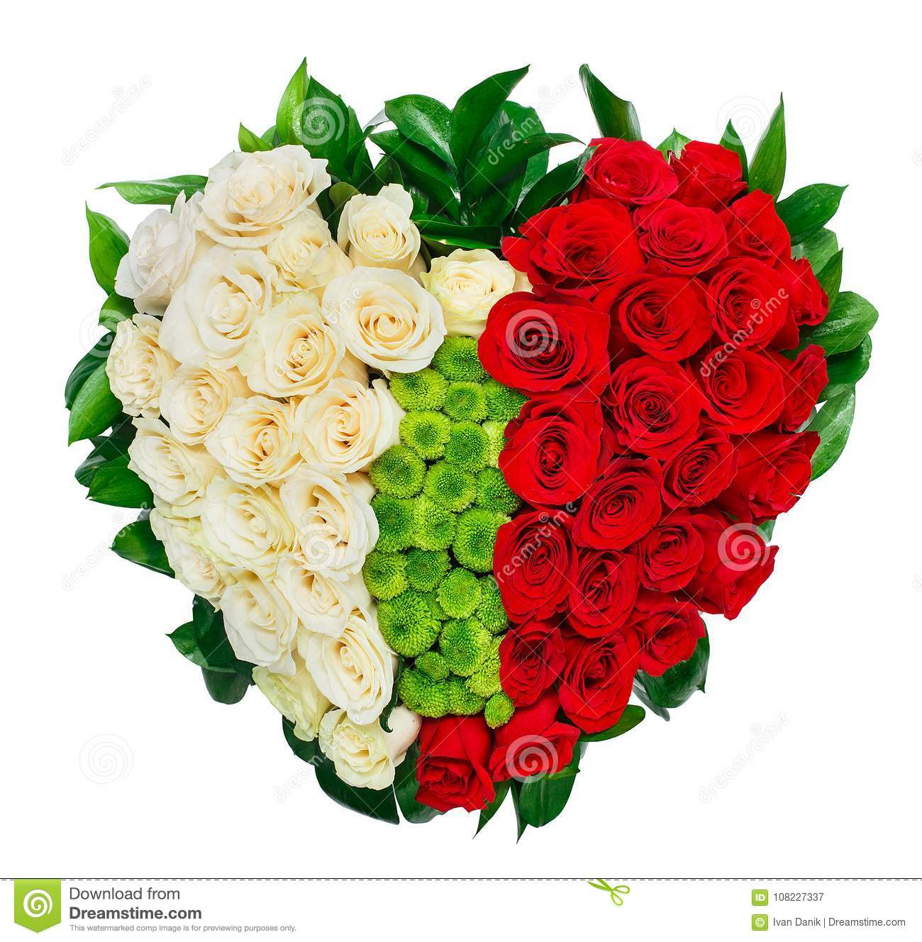 Heart Shaped Bouquet Of Red Roses Stock Image - Image of floral ...
