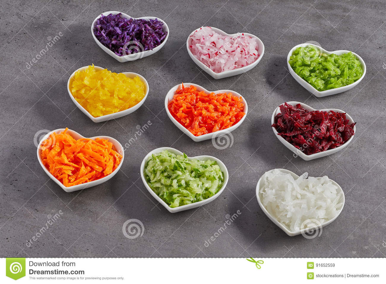 Heart-shaped Bowls With Grated Vegetables Stock Image - Image of ...