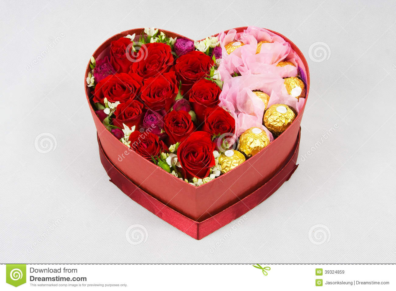 Heart Shaped Box Flowers Stock Image