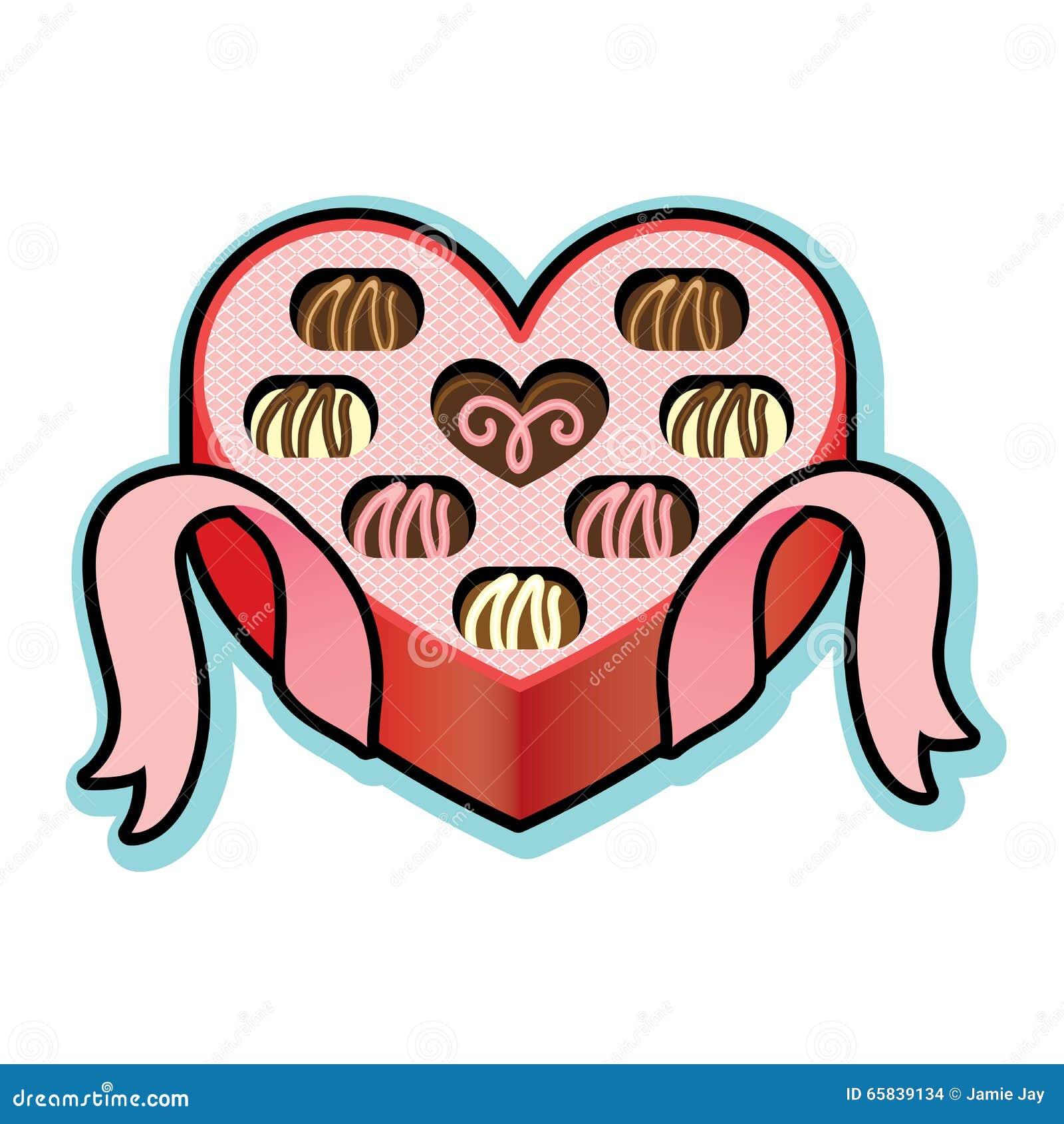 Heart Shaped Box With Valentine Chocolates Stock Vector