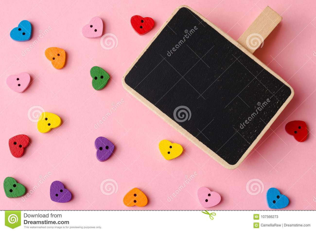 Heart-shaped Buttons With Blackboard Copy Space  Valentine`s