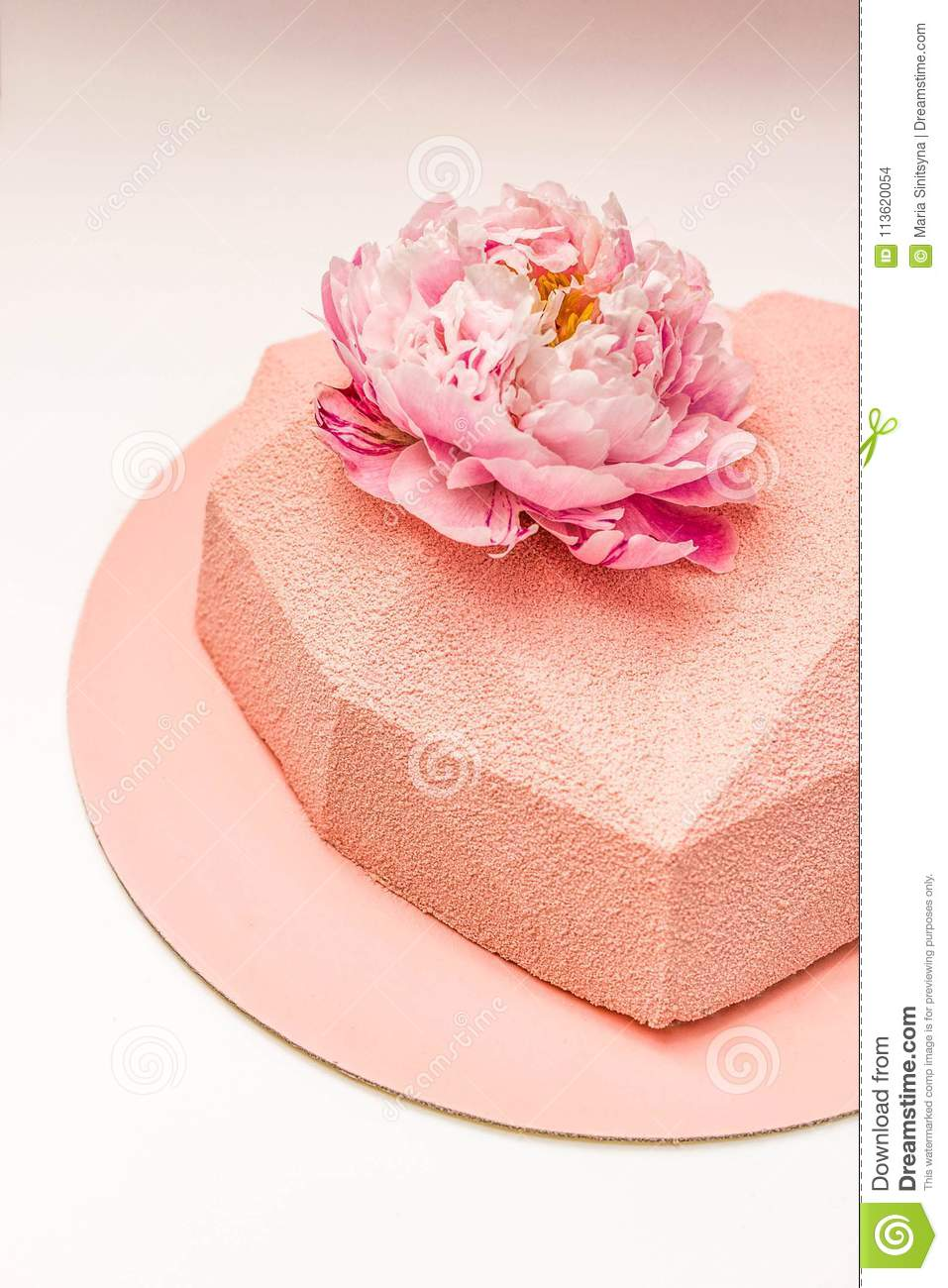 Heart shaped cake decorated with peony flower stock photo image of download heart shaped cake decorated with peony flower stock photo image of berries foodphoto izmirmasajfo