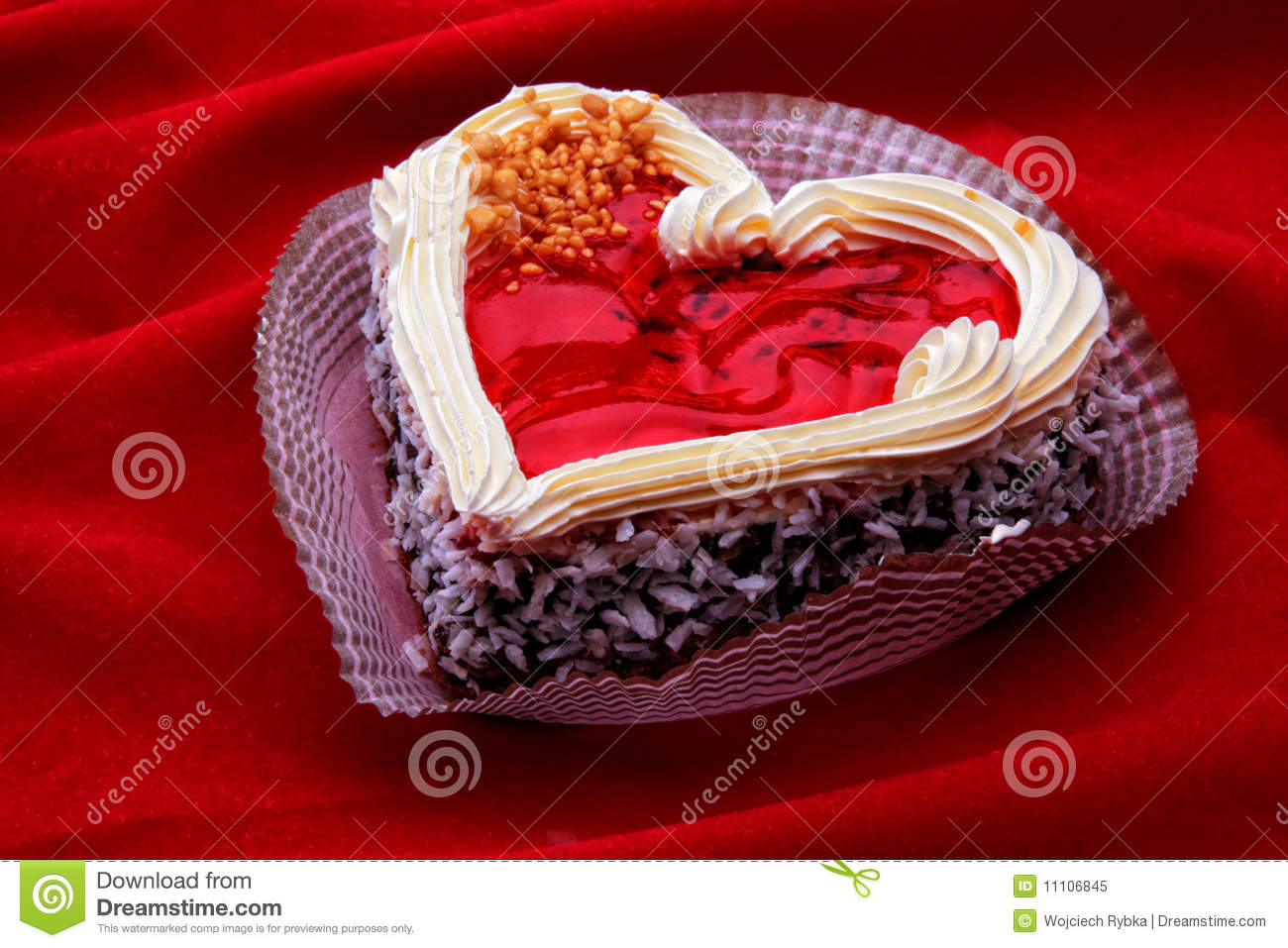 Heart Shaped Cake Stock Photos : Heart-shaped Cake On The Red Velvet Royalty Free Stock ...