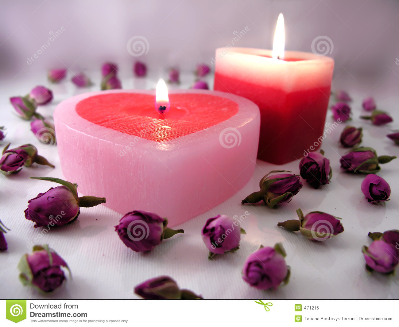 Heart Shaped Candles with Rosebuds