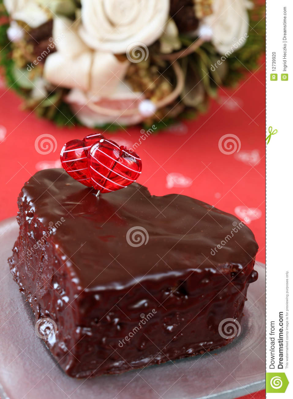 Heart Shaped Chocolate Cake With Heart Decoration Stock ...