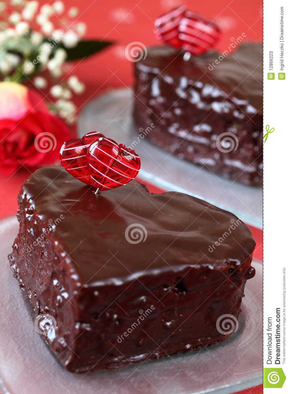 Heart Shaped Chocolate Cakes And Rose Stock Photos - Image: 12866223