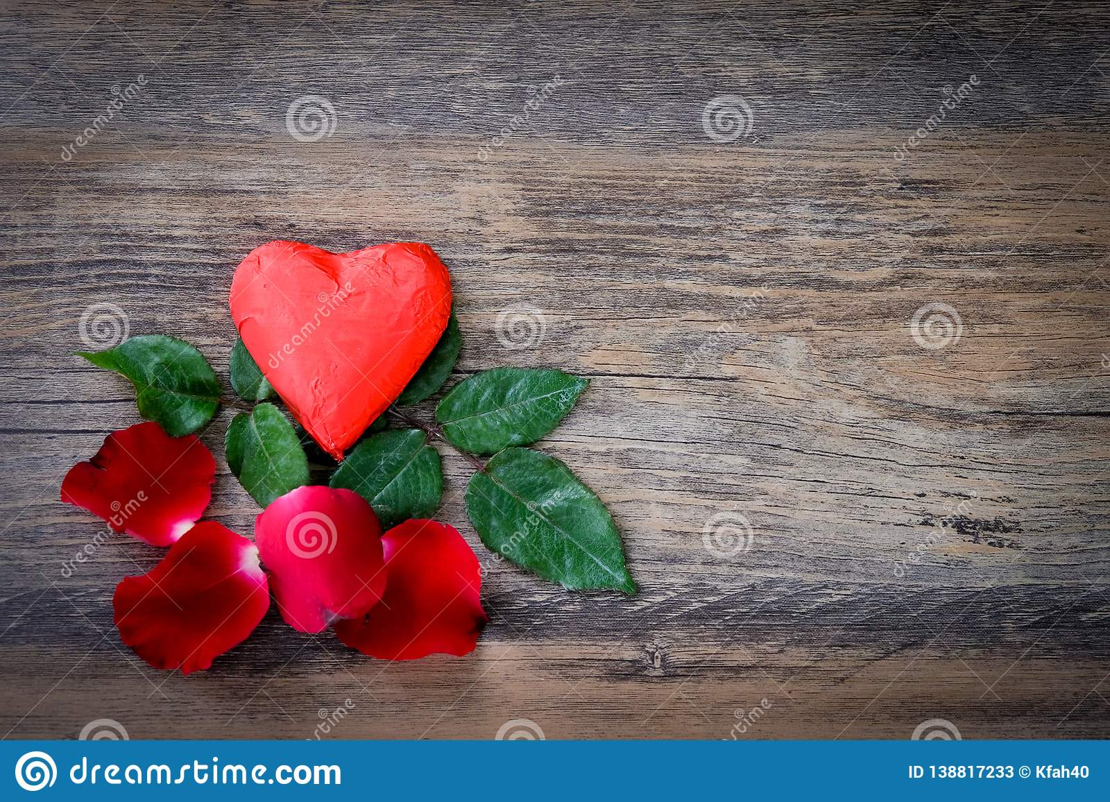 Heart shaped chocolate candy with red wrappings