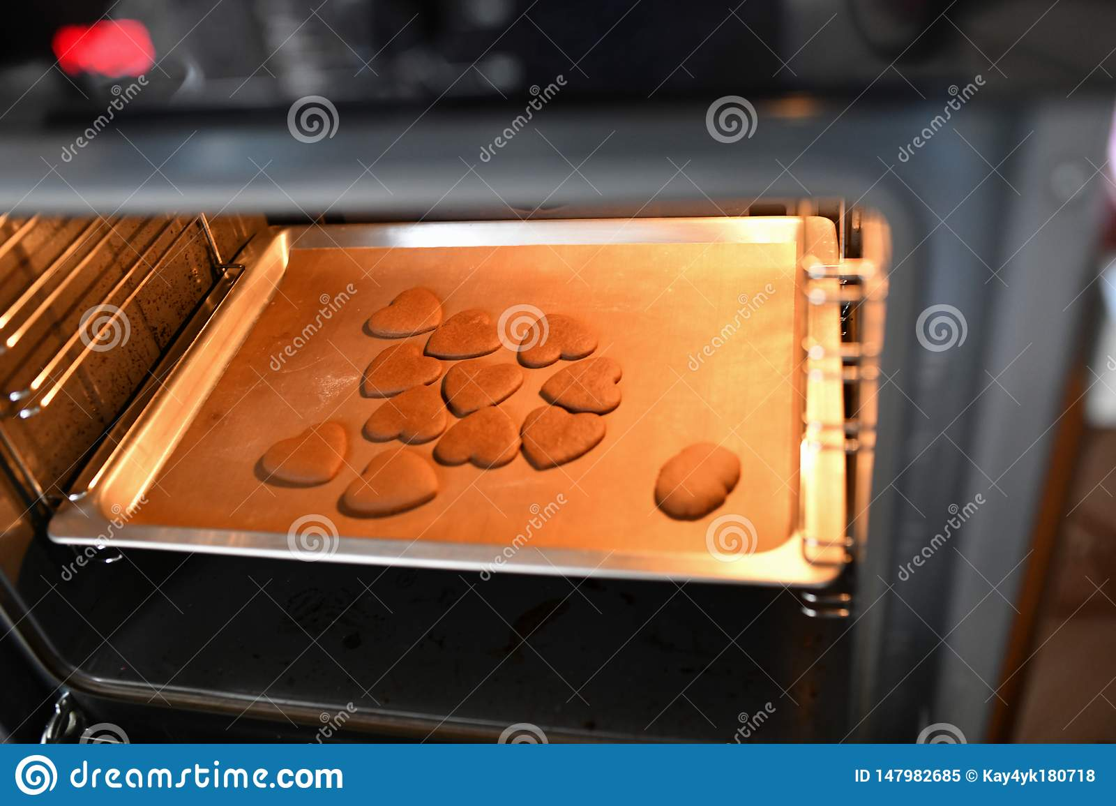 Heart Shaped Chocolate Chip Cookies In The Oven Cookies From Oven
