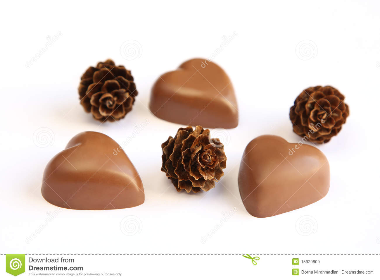 Heart shaped chocolates and pine cones