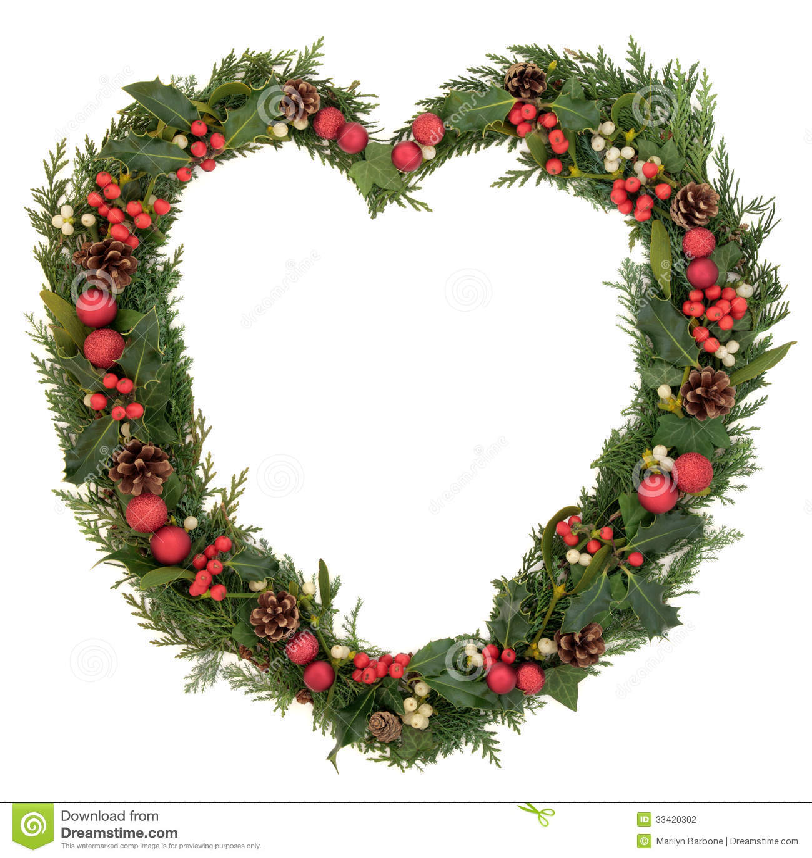 Heart Shaped Christmas Wreath Stock Photo Image 33420302