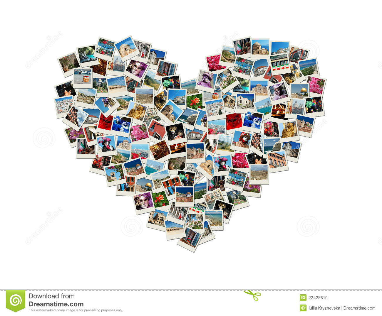 Heart Shaped Collage Made Of World Travel Photos Stock