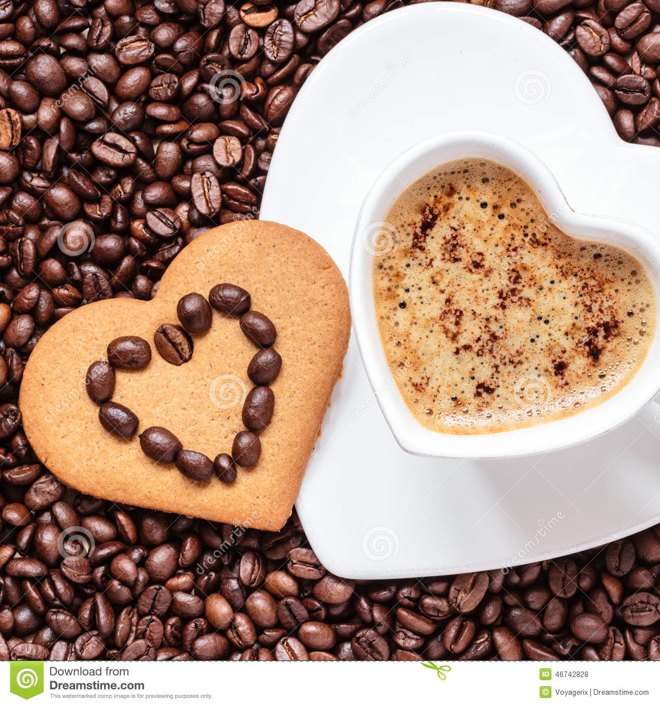 Cookie Coffee Cups Latte Coffee Cup And Heart Cookie Stock Photography Image 35710602