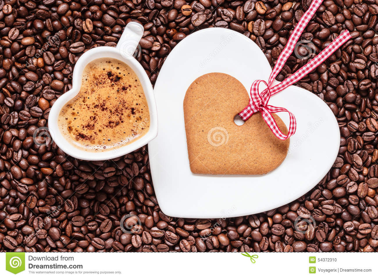 Cookie Coffee Cups Heart Shaped Cup And Cookie On Coffee Beans Background Stock Photo