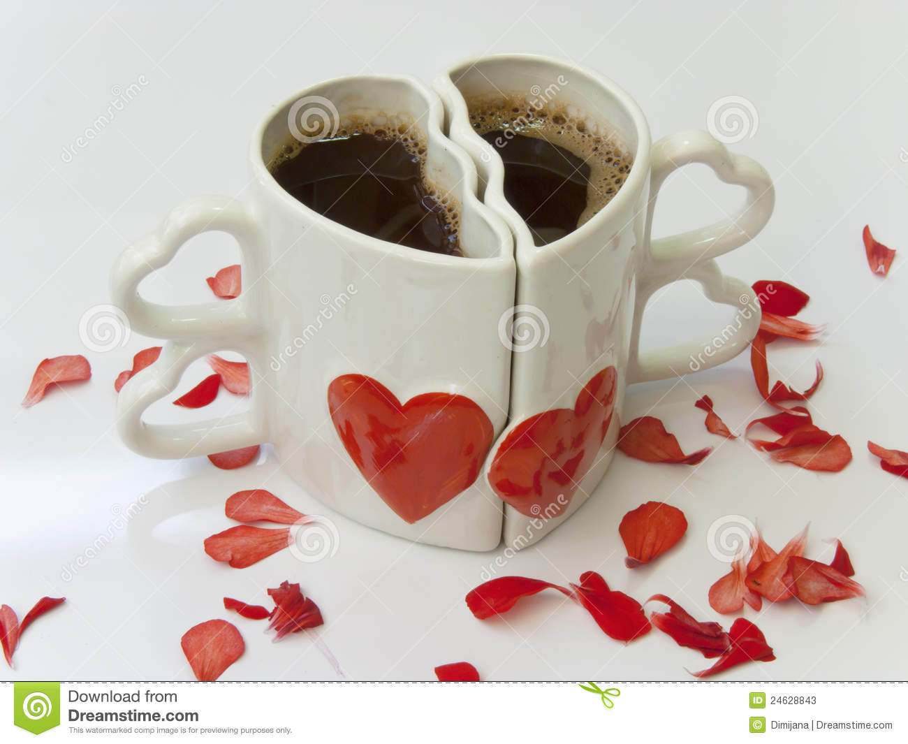 Heart Shaped Cups Of Coffee Stock Photos Image 24628843