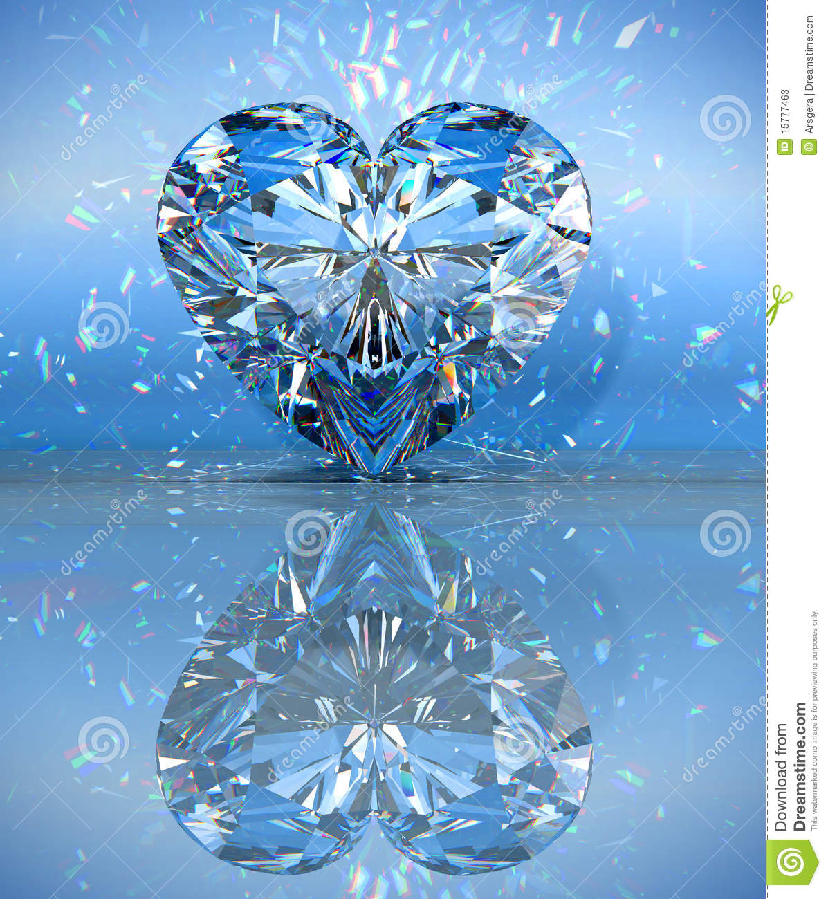Heart Shaped Diamond Over Blue With Reflection Stock