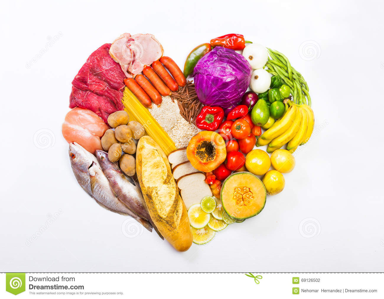 Heart shaped display of foods