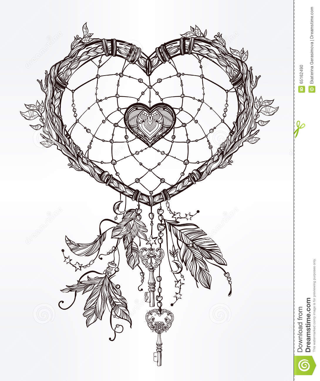 Heart Shaped Dream Catcher With Feathers Stock Vector Image 65162490