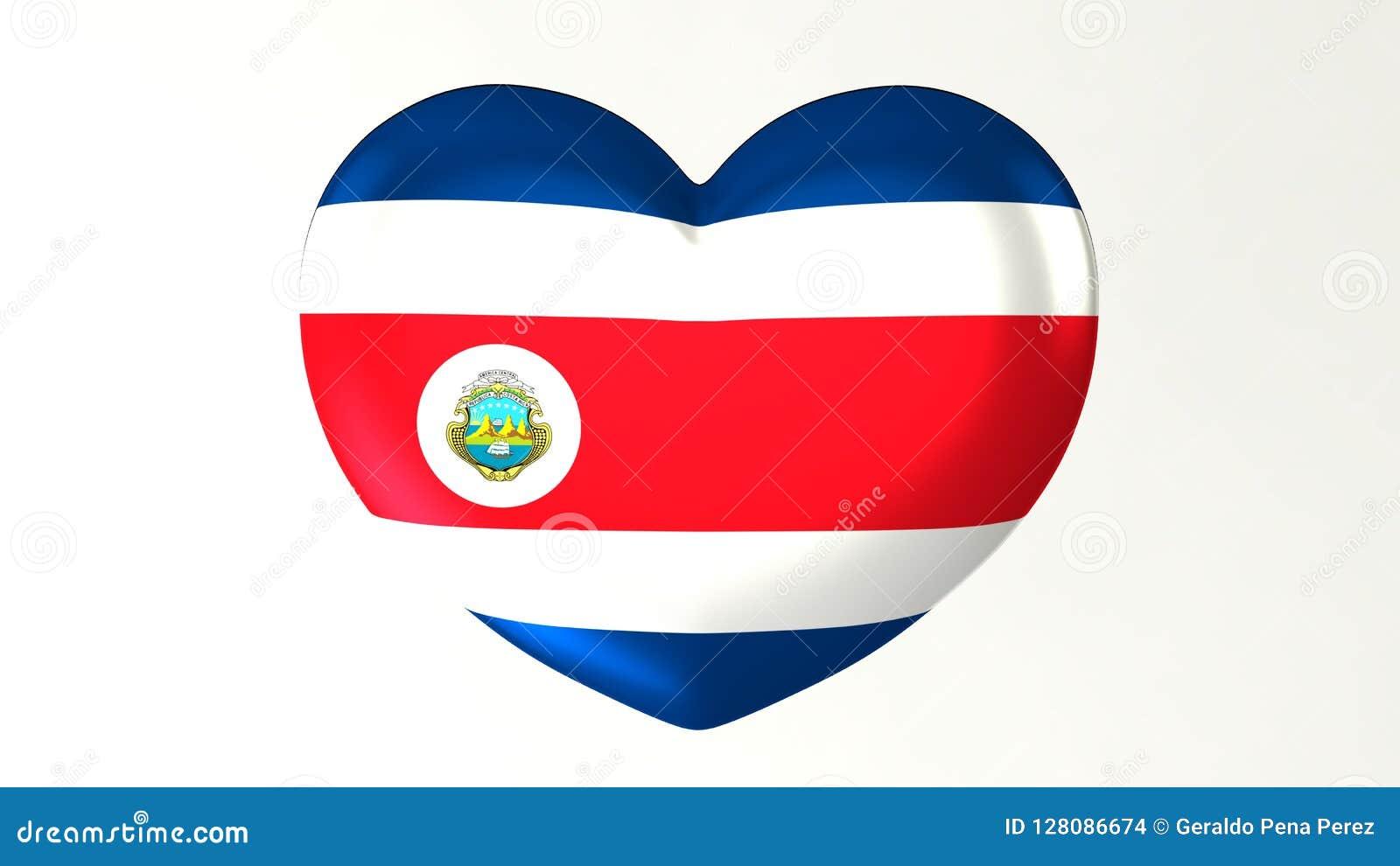 Heart-shaped flag 3D Illustration I love Costa Rica
