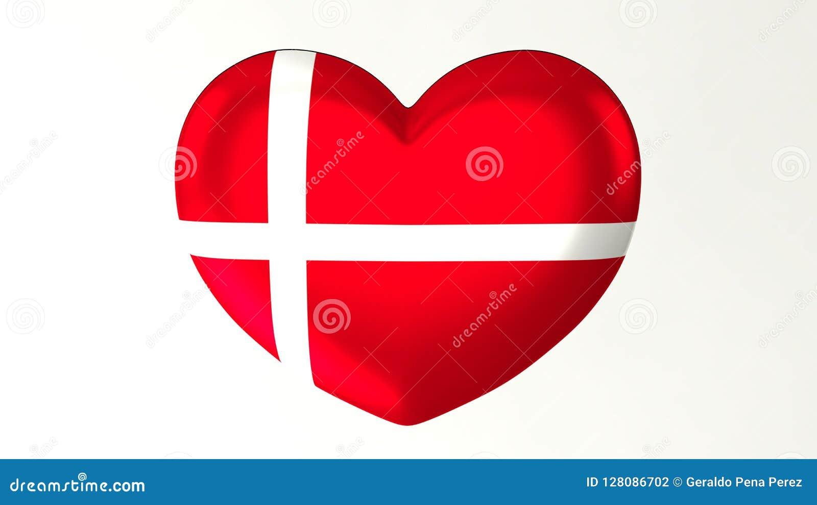Heart-shaped Flag 3D Illustration I Love Denmark Stock