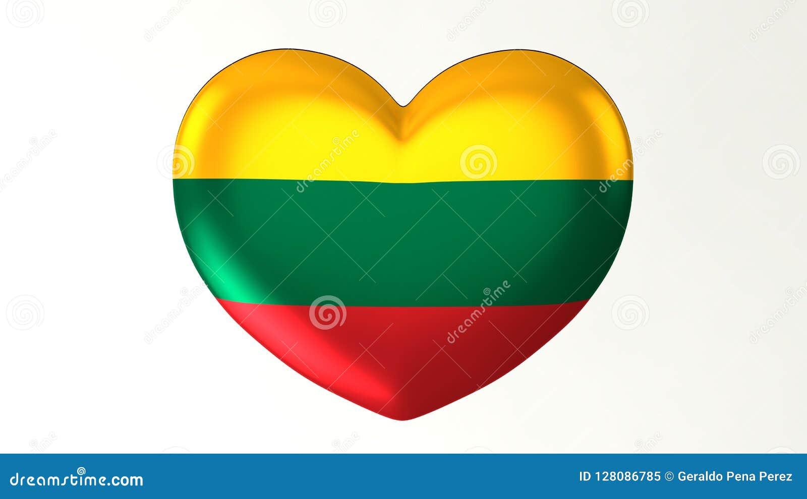 Heart-shaped Flag 3D Illustration I Love Lithuania Stock