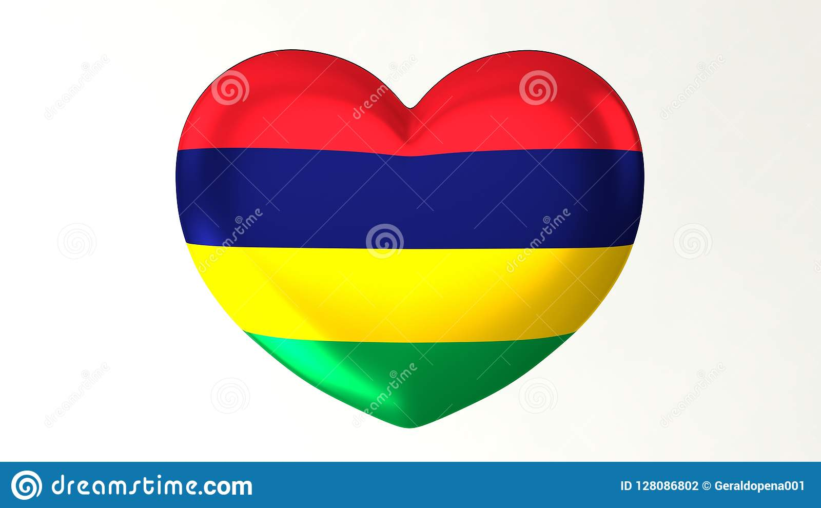 Heart-shaped Flag 3D Illustration I Love Mauritius Stock