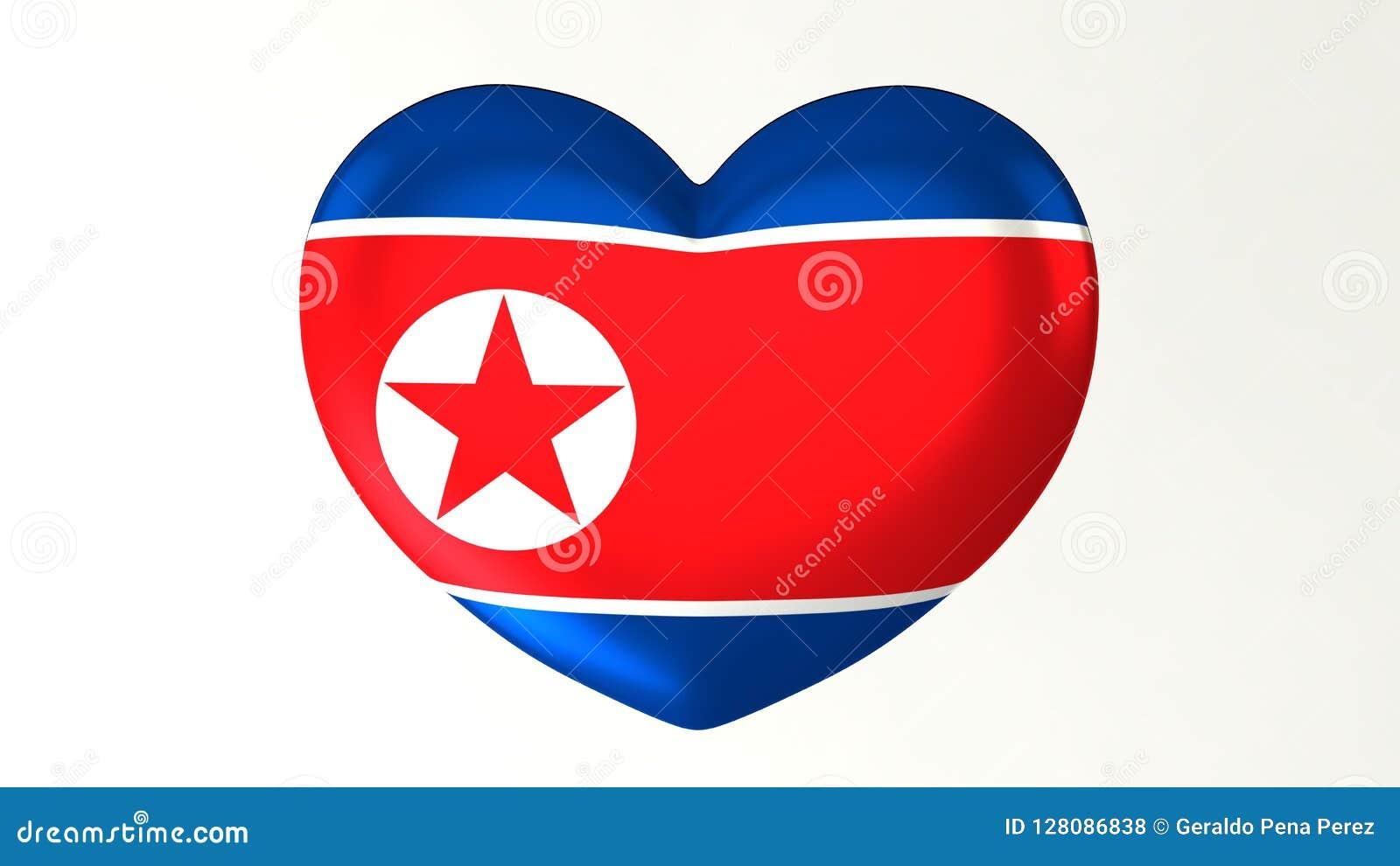 Heart-shaped Flag 3D Illustration I Love North Korea Stock