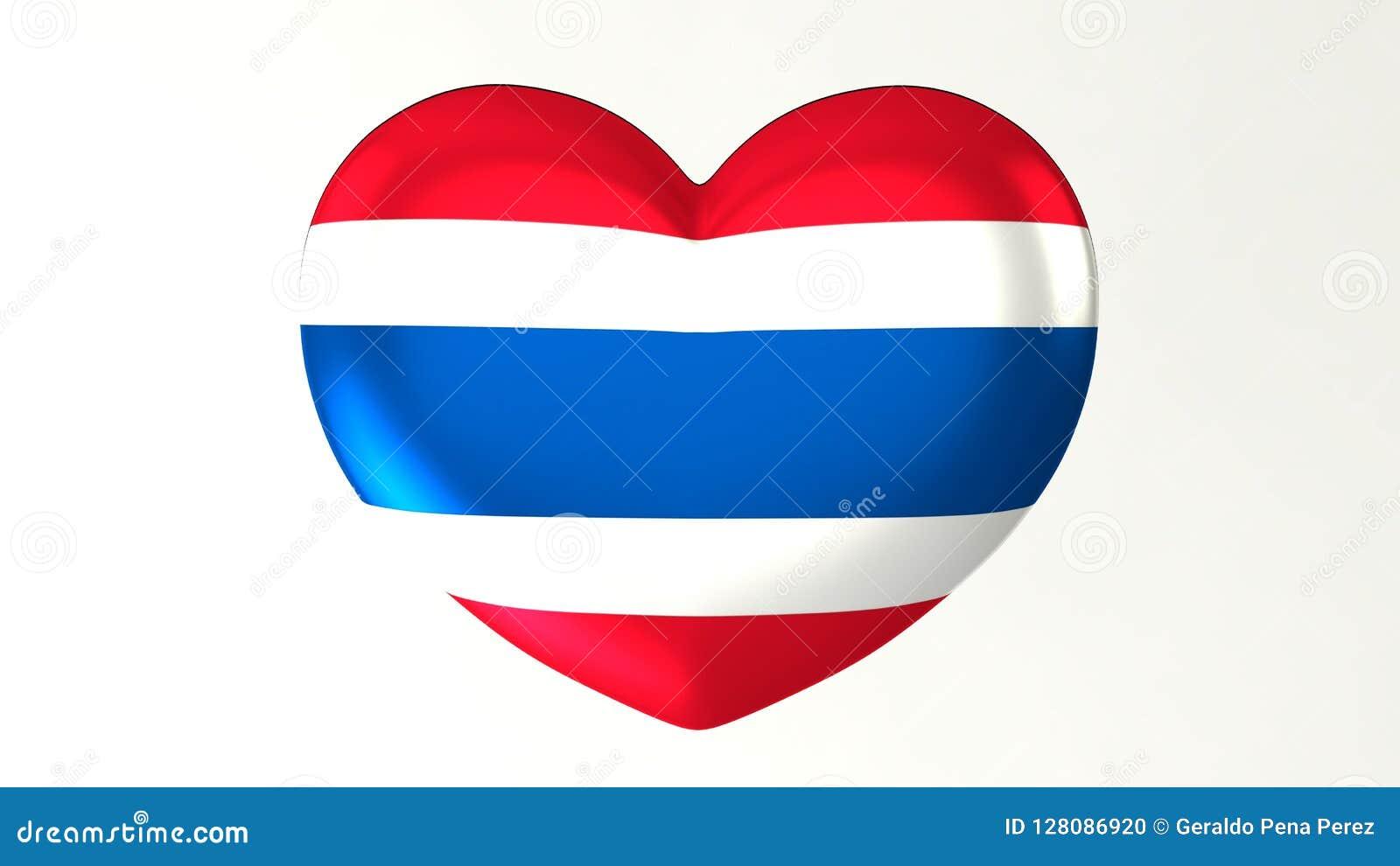 Heart-shaped Flag 3D Illustration I Love Thailand Stock