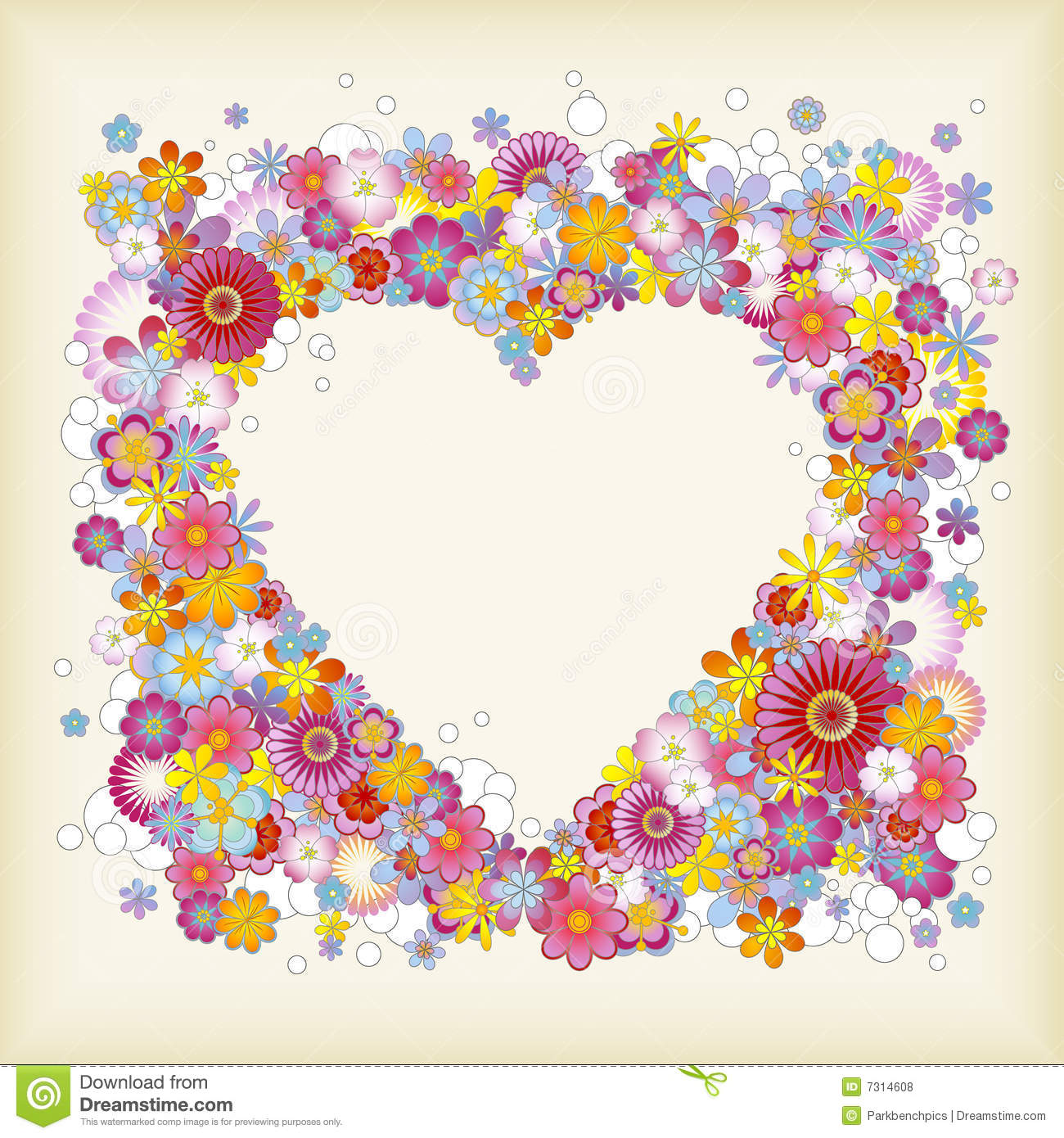 Heart-shaped floral frame stock vector. Illustration of greetings ...
