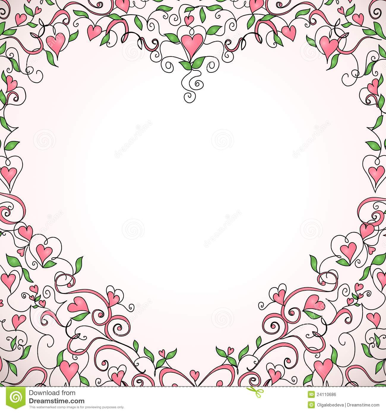 Heart Shaped Floral Frame Vector Illustration Stock