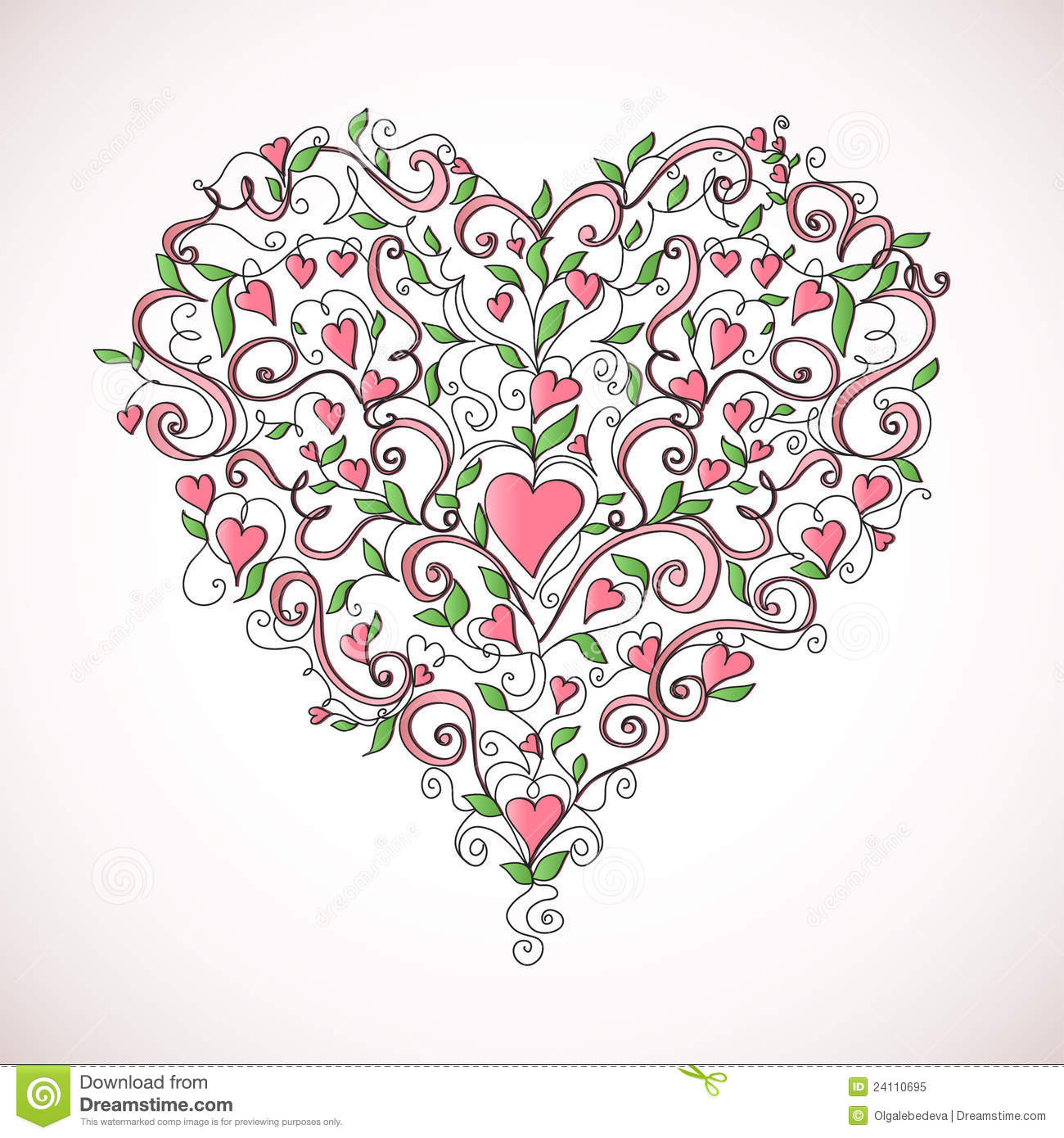 Heart made of floral ornament with hearts on white background, vector ...