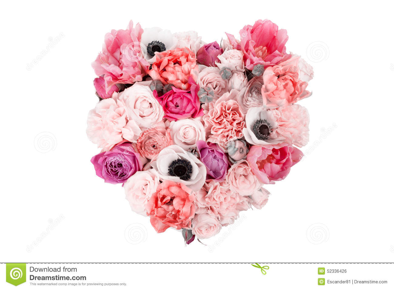 Heart Shaped Flower Bouquet Isolated On White Stock Photo - Image of ...