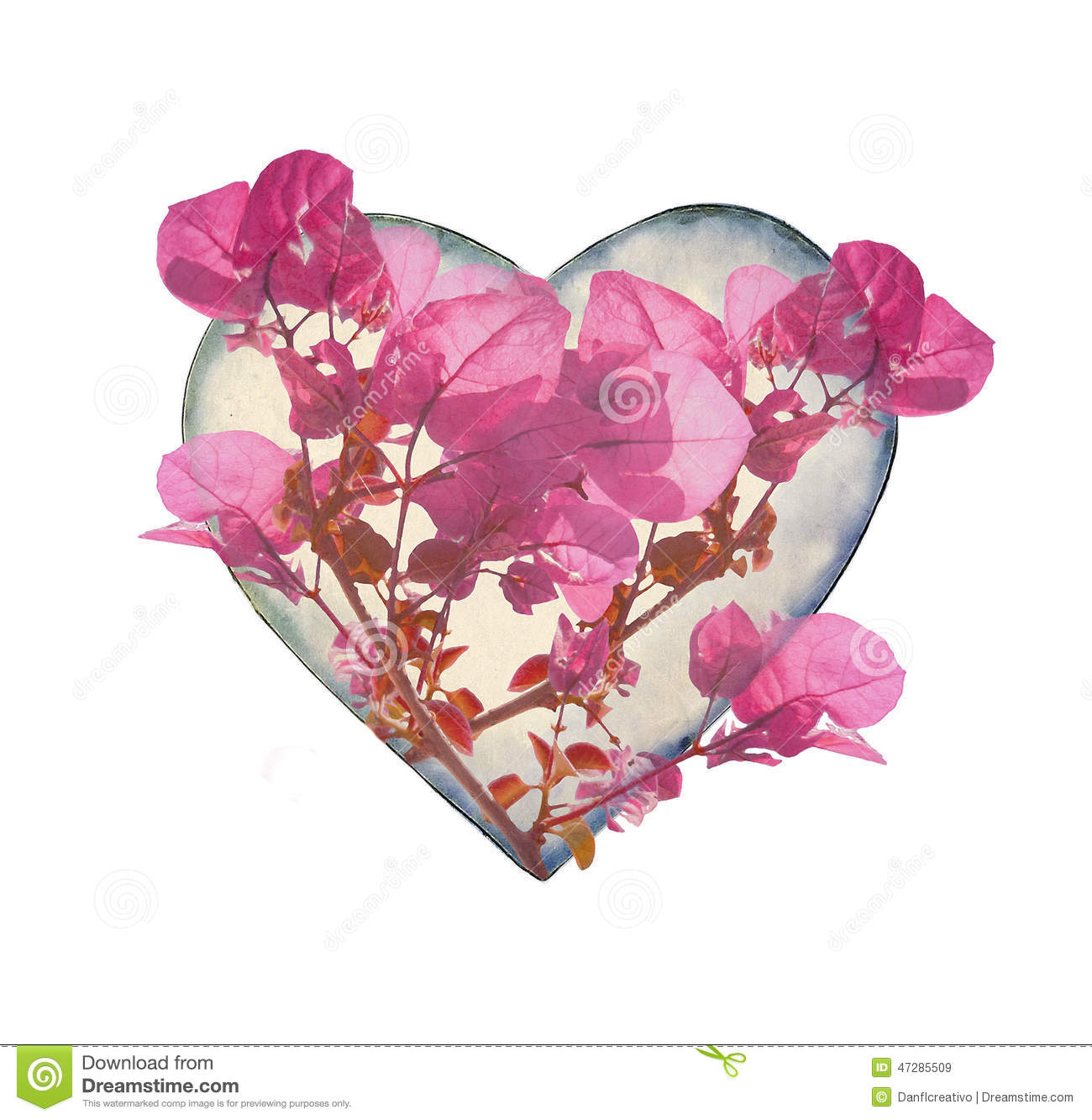 heart shaped with flowers stock illustration  image, Beautiful flower